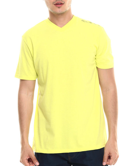 Ur-ID 218095 Rocawear - Men Yellow Heathered V-Neck Tee
