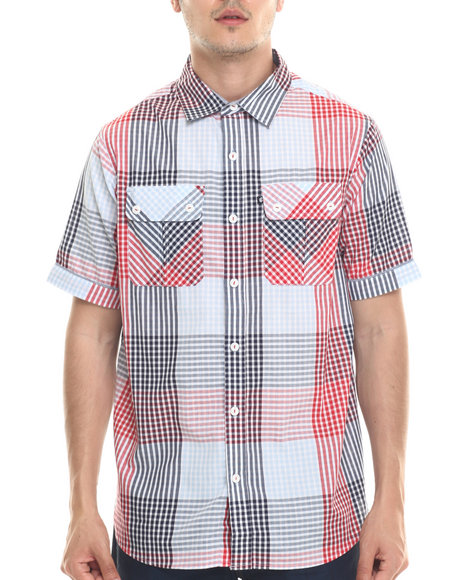 Ur-ID 218112 Rocawear - Men Navy,Red Cashing Checks S/S Button-Down
