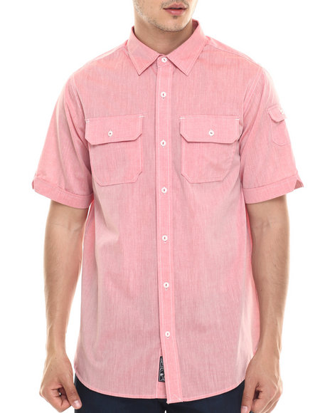 Ur-ID 218037 Rocawear - Men Red Slub Poplin S/S Button-Down