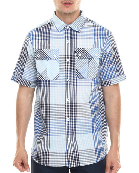 Rocawear - Men Blue Cashing Checks S/S Button-Down