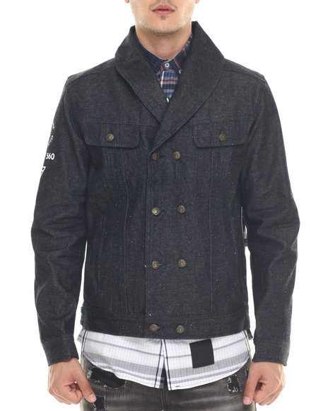 Ur-ID 218105 Rocawear BLAK - Men Dark Indigo Blackhearts Denim Jacket