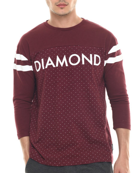 Ur-ID 218071 Diamond Supply Co - Men Maroon Micro Diamond Football Top