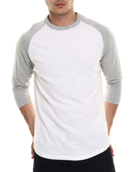 Basic Essentials - Men White Basic 3/4 - Sleeve Raglan Tee