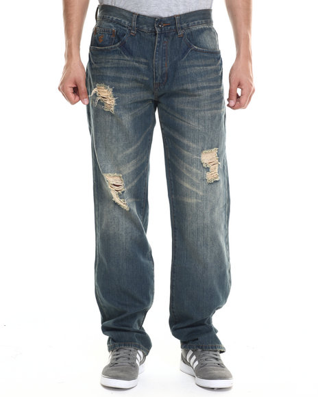 Ur-ID 218140 Rocawear - Men Dark Wash Wild Pitch Jeans