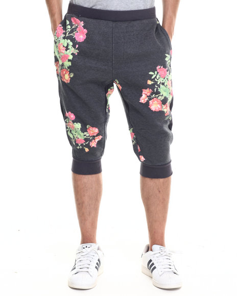 Rocawear Blak - Men Black Flowers Jogger Shorts