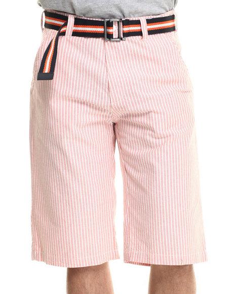 Ur-ID 218035 Basic Essentials - Men Orange Belted Seersucker Twill Shorts