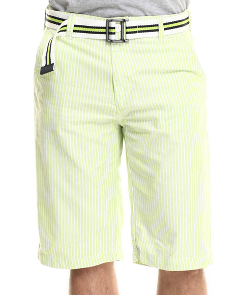 Ur-ID 218040 Basic Essentials - Men Lime Green Belted Seersucker Twill Shorts
