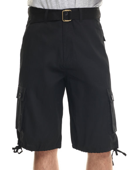 Basic Essentials - Men Black T H C Basic Twill Cargo Shorts