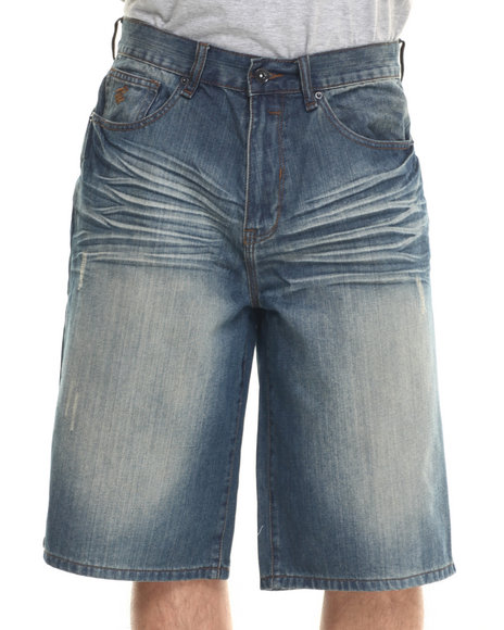 Rocawear - Men Medium Wash Bsr Core Denim Shorts