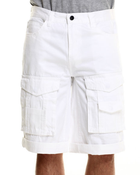 Rocawear Blak - Men White Blakprint Cargo Shorts