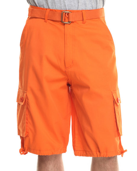 Basic Essentials - Men Orange T H C Basic Twill Cargo Shorts