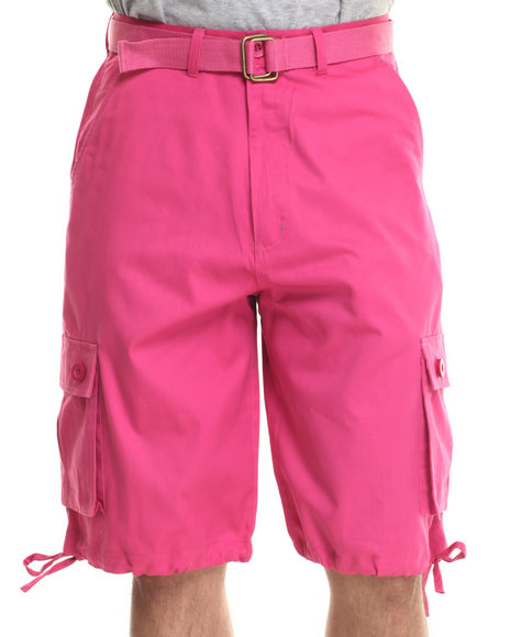 Basic Essentials - Men Dark Pink T H C Basic Twill Cargo Shorts
