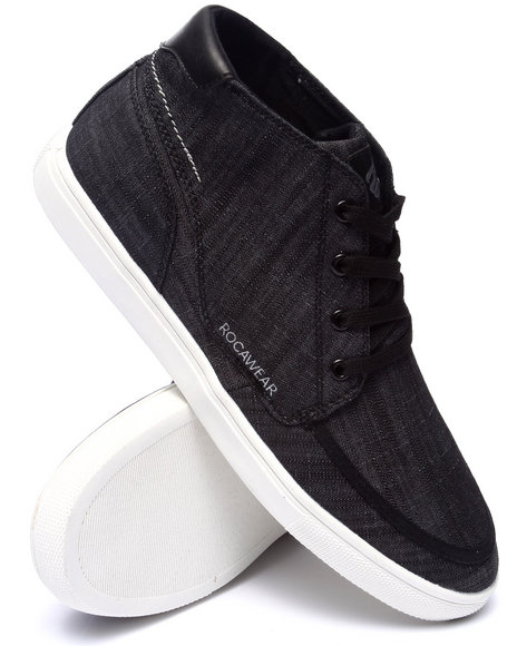 Rocawear - Men Black Rocawear Hightop Chambray Sneaker - $52.99