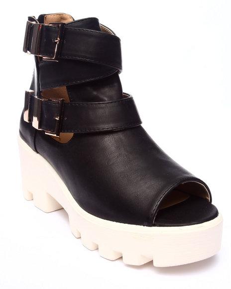 Ur-ID 218172 Fashion Lab - Women Black Beth Wedge Peep Toe Bootie