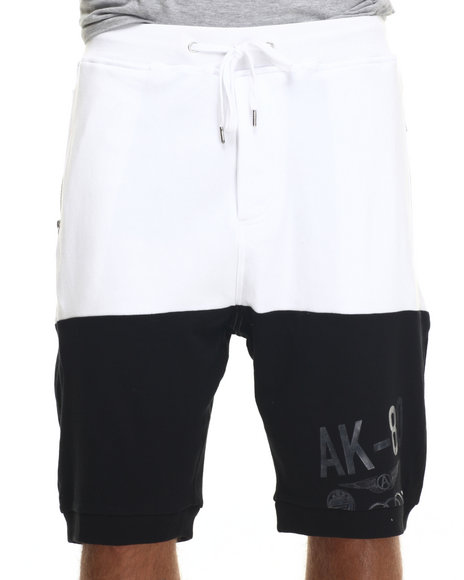 Ur-ID 218189 AKOO - Men Black Dual Knit Shorts