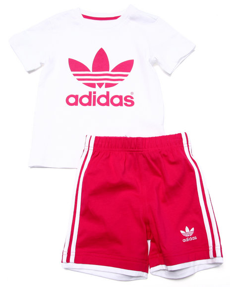 Adidas - Girls Pink Trefoil Short Set (Inf-4T) - $21.99