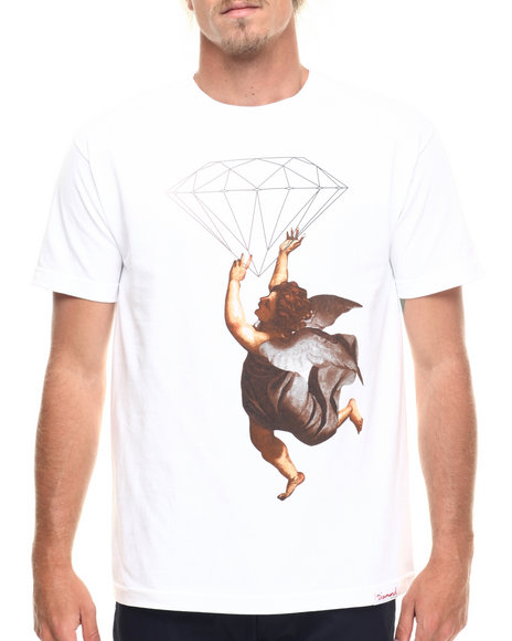 Ur-ID 218201 Diamond Supply Co - Men White Diamond Angel Tee