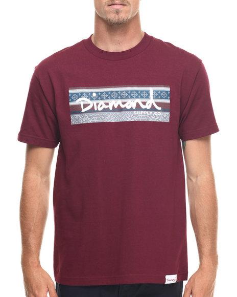 Diamond Supply Co - Men Maroon Fairisle Box Logo Tee