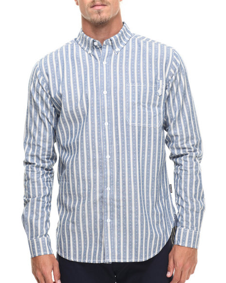 Diamond Supply Co - Men Blue Diamond Striped L/S Button-Down
