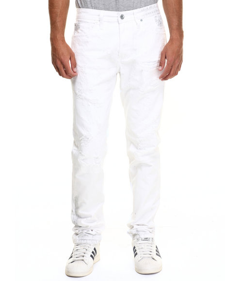 Akoo - Men White Lumberjack Denim Jeans