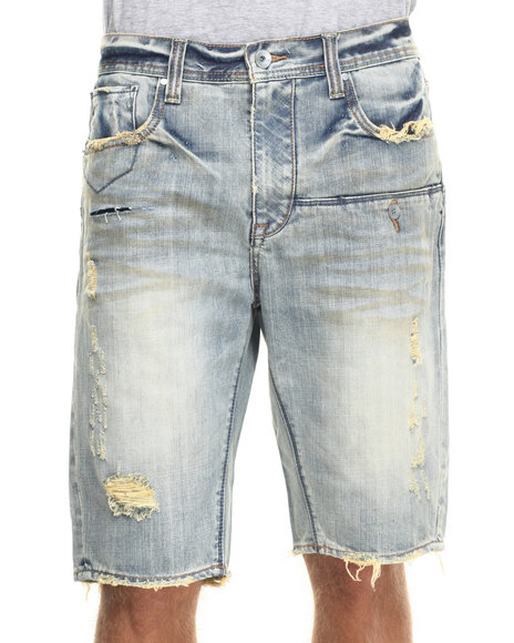 AKOO - Men Light Wash Maverick Denim Shorts