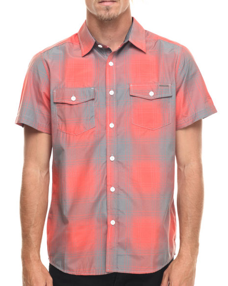 Ur-ID 218200 Ecko - Men Orange Ombre Plaid S/S Button-Down