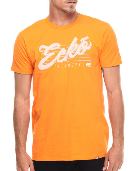 Ecko - Men Orange Unlimited Script Graphic T-Shirt