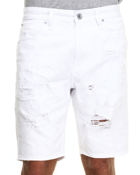 AKOO - Men White Lumber Jack Denim Shorts