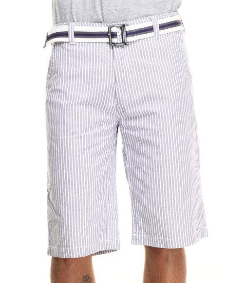 Ur-ID 218259 Basic Essentials - Men Purple Belted Seersucker Twill Shorts