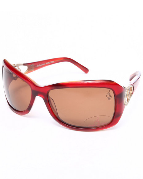 Baby Phat Women Oval Tone Sunglasses Dark Red