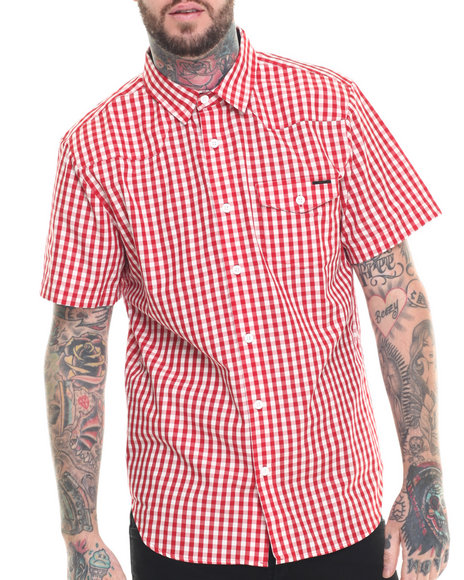 Ur-ID 218335 Ecko - Men Red Plaid S/S Button-Down