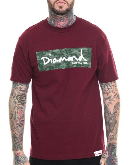 Ur-ID 218401 Diamond Supply Co - Men Maroon Tonal Box Logo Tee