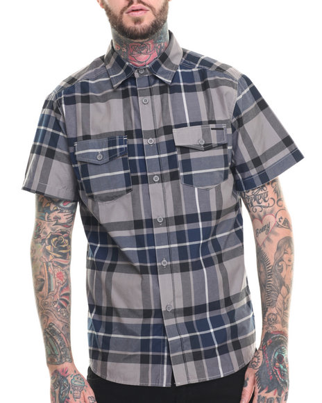 Ecko - Men Grey Oxford Plaid S/S Button-Down - $22.99