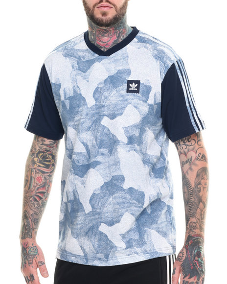 Ur-ID 218299 Adidas - Men Light Blue,Navy Smoked Aqua Jersey S/S Tee