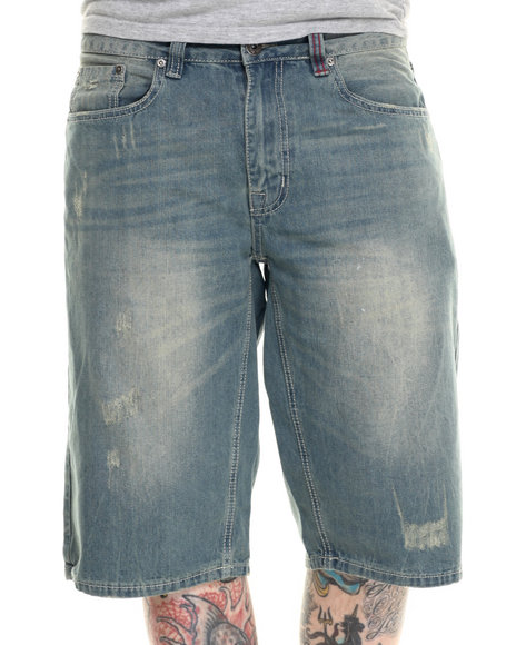 Ecko - Men Light Wash Distressed Denim Shorts