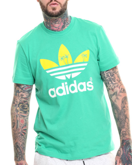 Ur-ID 218309 Adidas - Men Green Palm Tree Trefoil S/S Tee
