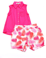 Sizes 4-6x - Kids - 2 PC SET - TIE FRONT WOVEN & PRINTED SHORTS (4-6X)