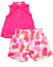 Sets - 2 PC SET - TIE FRONT WOVEN & PRINTED SHORTS (2T-4T)