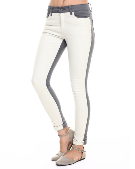 Ur-ID 218271 Lee Cooper - Women White Janie Skinny Jean W/Color Blocking