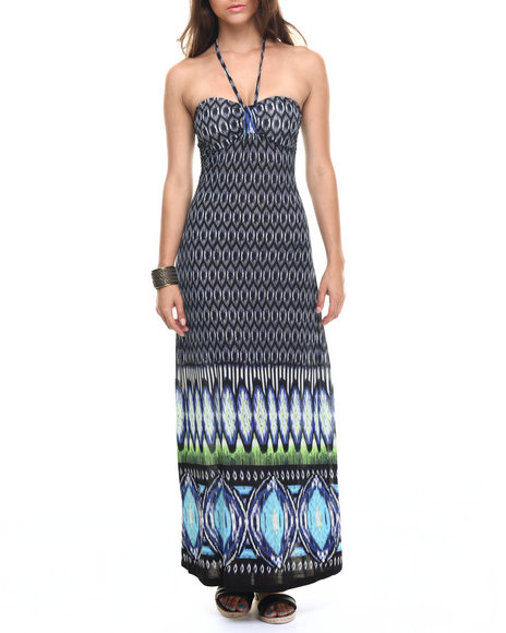 Ur-ID 218273 Fashion Lab - Women Black,Navy Island Breeze Halter Maxi Dress