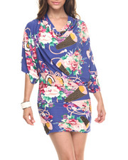 Dresses - Lotus Party Print Cowl Neck Dress