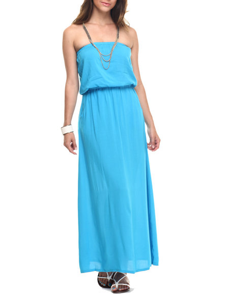 Ur-ID 218275 Basic Essentials - Women Blue Solid Tube Maxi Dress W/Pockets