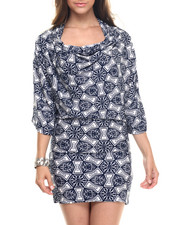 Dresses - Navy Print Cowl Neck Dress