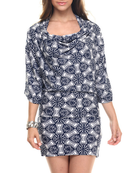 Ur-ID 218276 Vertigo - Women Navy Navy Print Cowl Neck Dress
