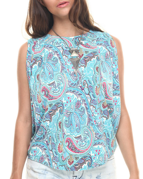 Ur-ID 218277 Vertigo - Women Blue,Multi Paisley Print Cross Back Knit Top