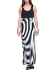 Basic Essentials - Mamba Stripe 2-Fer Maxi Dress