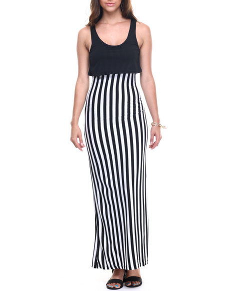 Ur-ID 218278 Basic Essentials - Women Black,White Mamba Stripe 2-Fer Maxi Dress