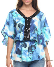 Fashion Tops - Sequin Trim Chiffon Kimono Top