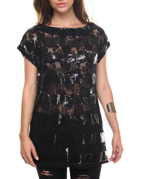 Ur-ID 218286 Vertigo - Women Black Sequin Stripe Lace Tunic Top