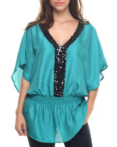Ur-ID 218287 Vertigo - Women Teal Sequin Trim Chiffon Kimono Top